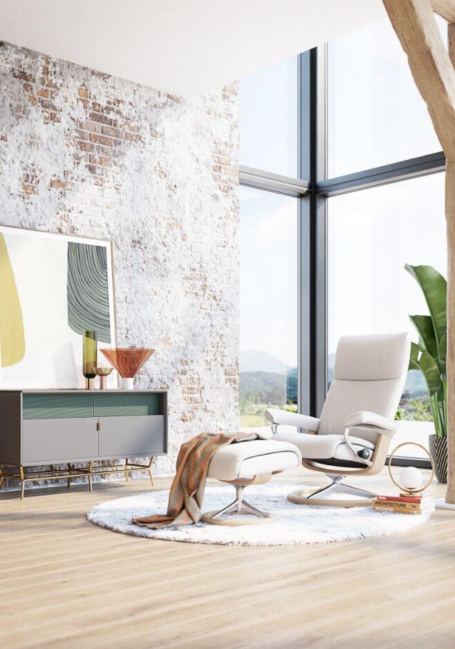 salón con sillón relax stressless reclinable blanco