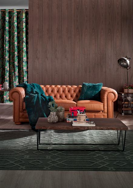 sofá tres plazas chester de piel marrón golden mimma gallery