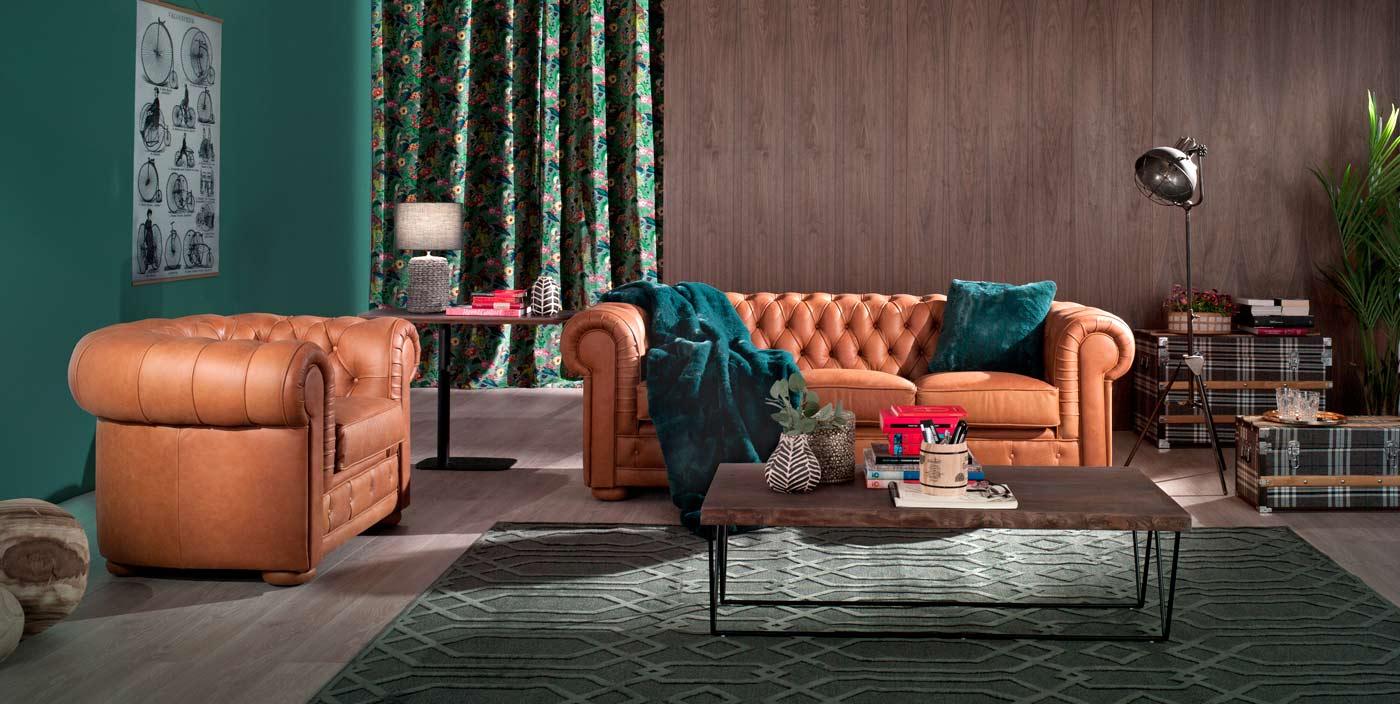 Decoración salón sofá de piel marrón golden mimma gallery