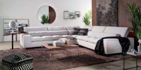 decoración salón sofá rinconera blanco luxury mimma gallery