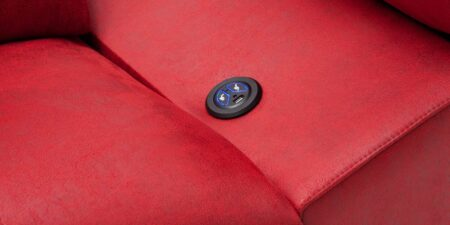 chaiselong rojo de piel angie mimma gallery