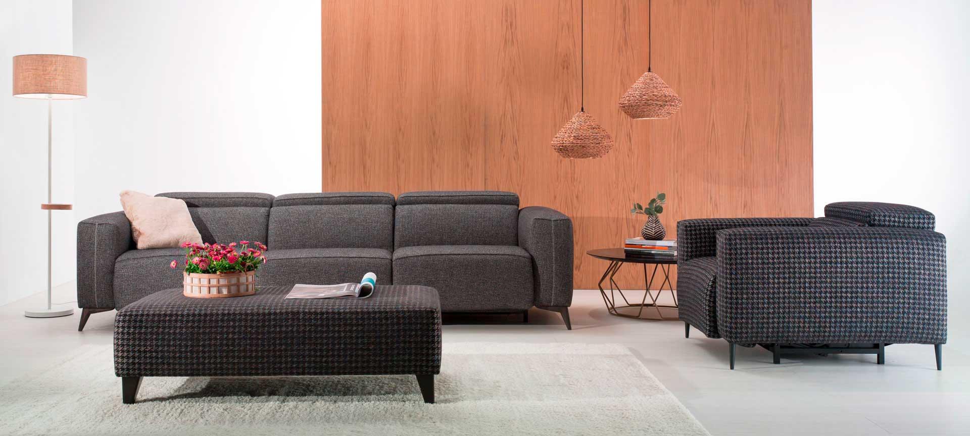 sofa Hanoi gris de diseño con mecanismos relax mimma gallery