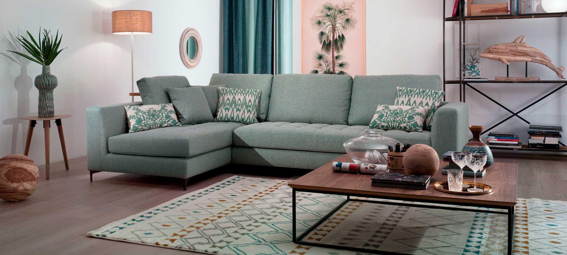 sofa rinconera Rock color verde suave mimma gallery