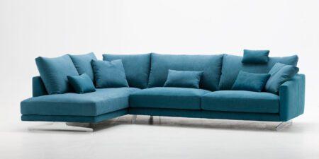 sofá rinconera azul soft mimma gallery