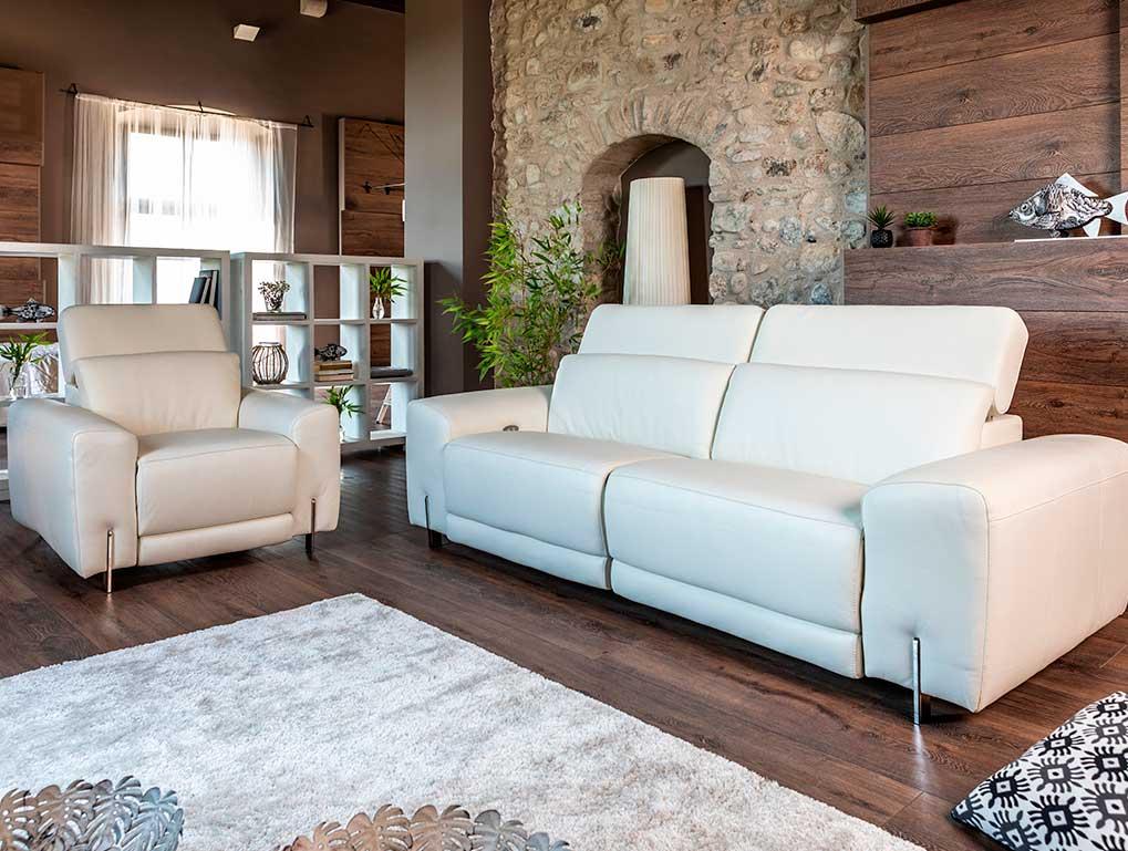 sillón y sofá de piel blanco mimma gallery