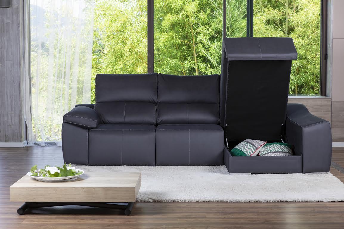 sofá con almacenaje de piel negro