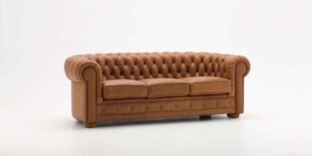 Sofá de piel marrón golden mimma gallery
