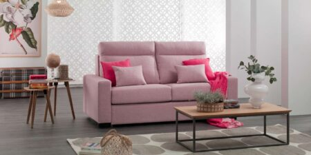 salón con sofá cama rosa maui mimma gallery