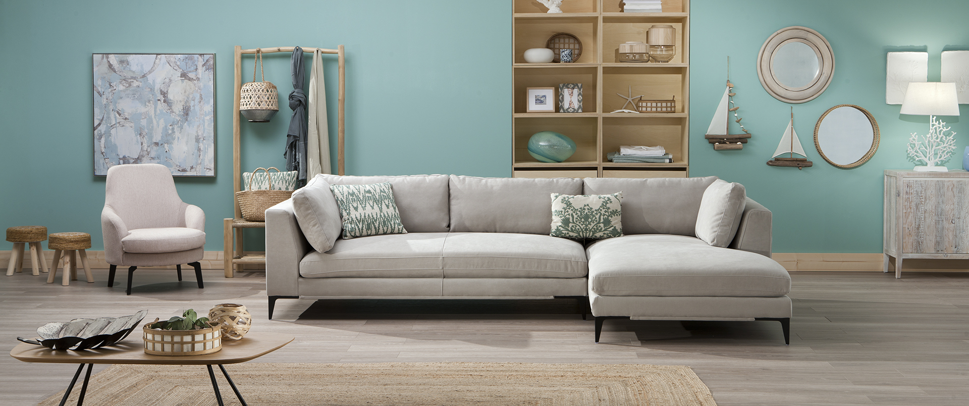 Sofa Chaise Long Beige Weekend
